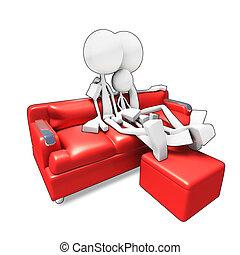 rodina, sedění, televize, pohovka, watvhing, 3