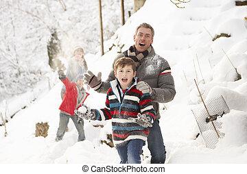 rodina, sněžný, boj, sněhová koule, obout si, krajina