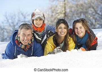 rodina, sněžný, mládě, žert, obout si, krajina