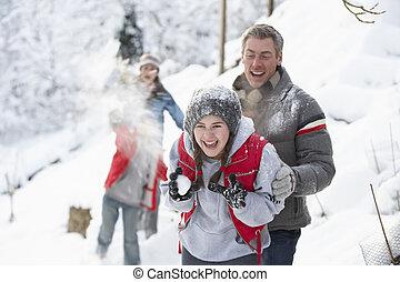 rodina, sněžný, mládě, boj, sněhová koule, obout si, krajina