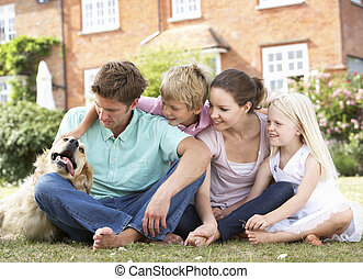 rodina, zahrada, dohromady, sedění
