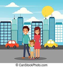 rodinný walking, šťastný, od velkoměsto, ulice
