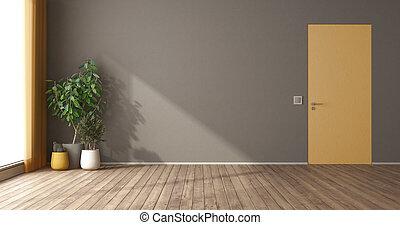 rodna, rum, vägg, dörr, tom