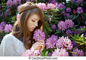 rododendron, verlustigt zich in, geur, dame, blossom , jonge
