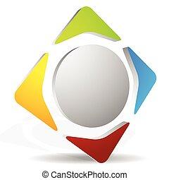 rodový, editable, vektor, arrows., graphics., 4-way, ikona