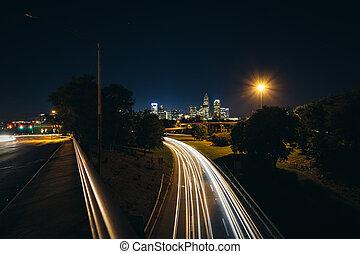 Rodovia,  Charlotte, norte, noturna, vista,  Andrew, longo,  Skyline,  Jackson, tráfego,  central,  Uptown, exposição, avenida, ponte,  Charlotte,  Carolina