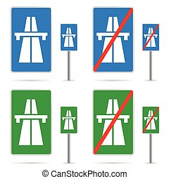 rodovia, ilustração, sinal