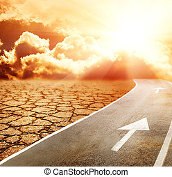 rodovia, para, inferno, através, deserto