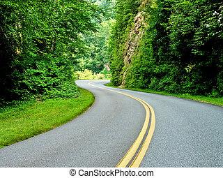 rodovia, para, luz solar