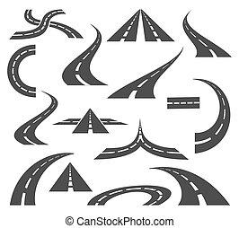 rodovias, vetorial, isolado, icons., movimento, mapas, viagem, fundo, sinais, estradas, branca, viagem, estrada