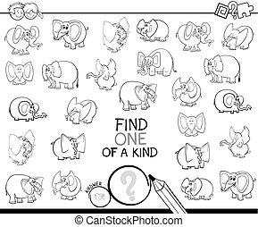 rodzaj, kolor, jeden, gra, książka, słoń