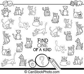rodzaj, kolorowanie, jeden, gra, koty, książka