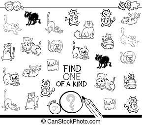 rodzaj, kolorowanie, kot, gra, książka, jeden