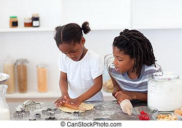 rodzeństwo, gotowanie, biskwit, wesoły