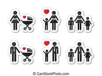 rodzic, rodzina, ikony, -, znak, jednorazowy