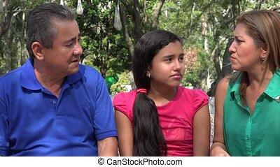 rodzice, argumentując, przed, córka