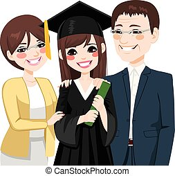 rodzice, dumny, córka, asian