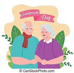 rodzice, dzień, szczęśliwa para, ozdoba, sprytny, liście, ...