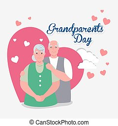 rodzice, dzień, szczęśliwa para, ozdoba, sprytny, serca, ...