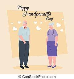 rodzice, dzień, szczęśliwa para, sprytny, starszy, wielki