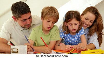 rodzice, dzieci, kolorowanie, szczęśliwy