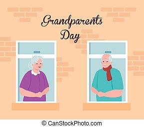 rodzice, oglądając, dzień, szczęśliwa para, wielki, sprytny...