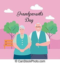 rodzice, park, dzień, szczęśliwa para, sprytny, starszy, ...