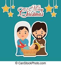 rodzina, święty, scena, narodzenie, wesołe boże narodzenie