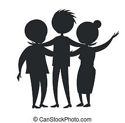 rodzina, żona, syn, czarnoskóry, dojrzały, mąż, szczęśliwy