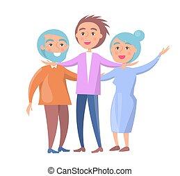 rodzina, żona, syn, dojrzały, mąż, szczęśliwy
