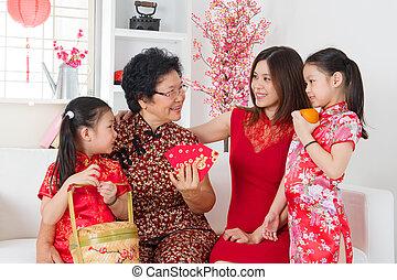 rodzina, chińczyk, asian, rok, nowy, home., świętować