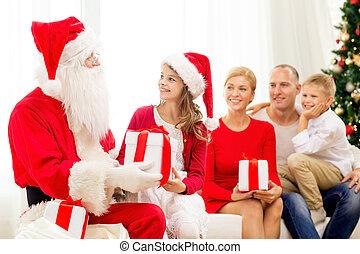rodzina, claus, dary, święty, dom, uśmiechanie się