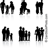 rodzina, colour., ilustracja, sylwetka, wektor, czarnoskóry