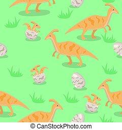 rodzina, dinosaurs., seamless, struktura, wektor, graphics.