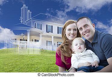 rodzina, dom, młody, ghosted, za, wojskowy, rysunek