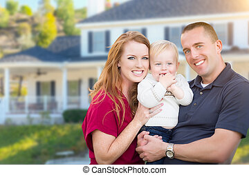 rodzina, dom, młody, ich, przód, wojskowy