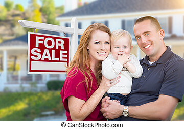 rodzina, dom, młody, sprzedaż, przód, wojskowy, znak