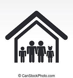 rodzina, dom, odizolowany, ilustracja, jednorazowy, wektor, ikona