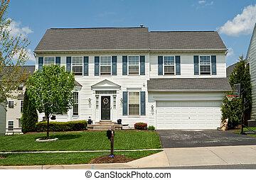 rodzina, dom, podmiejski, jednorazowy, bocznica, maryland, u, winyl, przód, dom