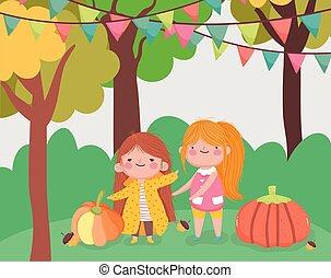 rodzina, dynie, dziękczynienie, mały, sprytny, szczęśliwy, park, dziewczyna