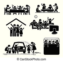 rodzina, działalność, czas, na, home.