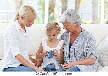 rodzina, dzianie, razem, w kraju
