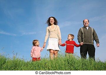 rodzina, dziecko, trawa
