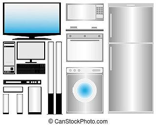 rodzina, elektronic, przyrządy