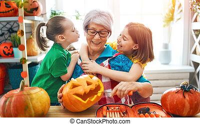 rodzina, halloween, przygotowując