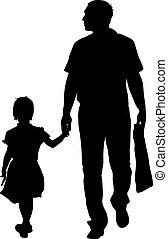 rodzina, ilustracja, tło., sylwetka, wektor, czarnoskóry, biały
