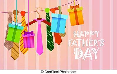 rodzina, krawat, ojciec, powitanie, święto, dzień, karta,...