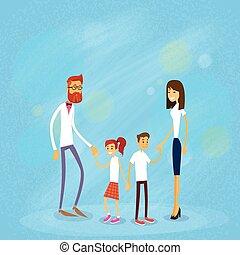 rodzina, ludzie, dwa, czterej rodzice, dzieci, szczęśliwy