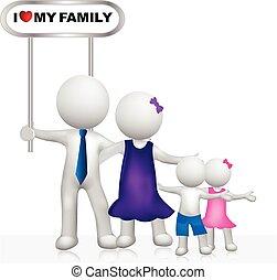 rodzina, ludzie, znak, logo, biały, 3d