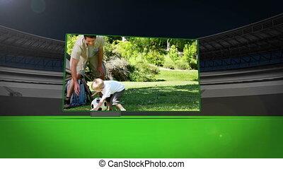rodzina, magnetowidy, grając piłkę nożna
